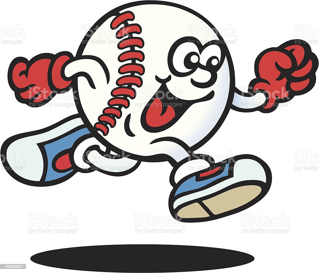 Drawing of an anthropomorphic baseball ball running royalty-free stock vector art