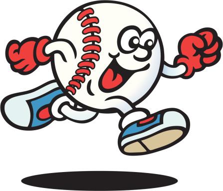 Drawing of an anthropomorphic baseball ball running