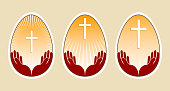 Drawing of an easter egg with a cross and hands, set, design element.