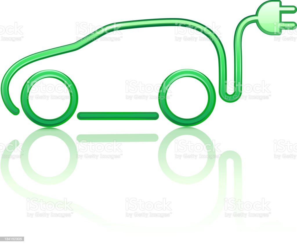 A drawing of an electricity powered car vector art illustration