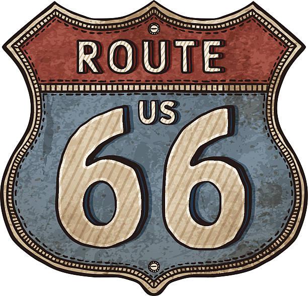 stockillustraties, clipart, cartoons en iconen met drawing of an old rusty american sign for route 66 - arizona highway signs