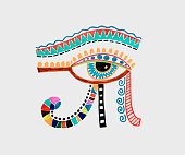 marker sketch drawing of ancient egyptian moon sign - left eye of horus, mighty pharaons amulet, vector illustration