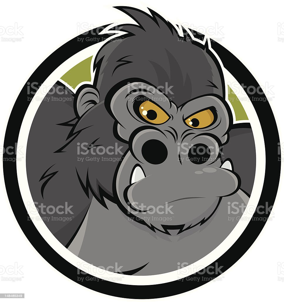 Drawing of Angry gorilla in a circle looking at viewer vector art illustration