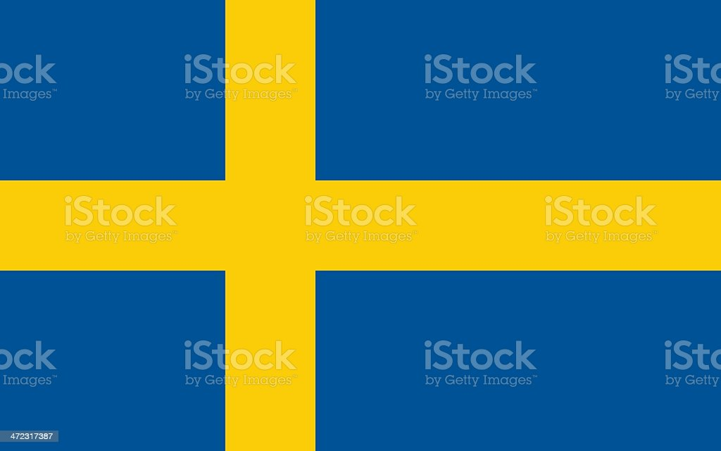 Drawing of blue and yellow flag of Sweden vector art illustration