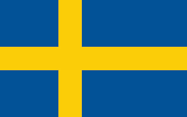 Drawing of blue and yellow flag of Sweden Proportion 10:16, Flag of Sweden sweden stock illustrations