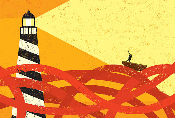 stockillustraties, clipart, cartoons en iconen met drawing of boat on red sea being guided by lighthouse - twijfel
