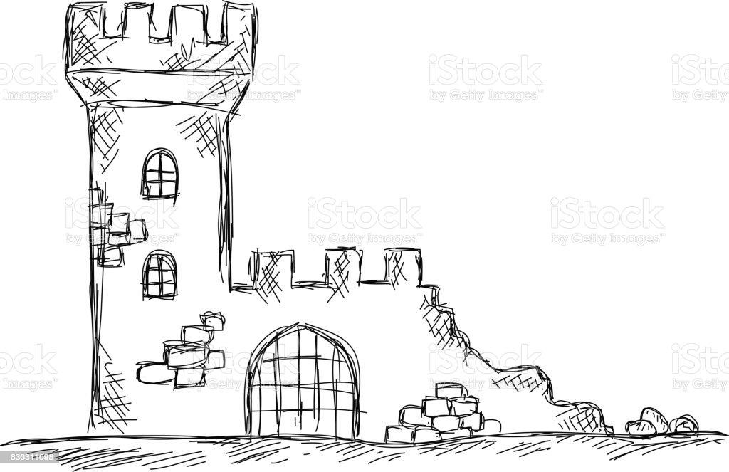 Dessin Des Ruines Du Chateau Vecteurs Libres De Droits Et Plus D Images Vectorielles De Antique Istock