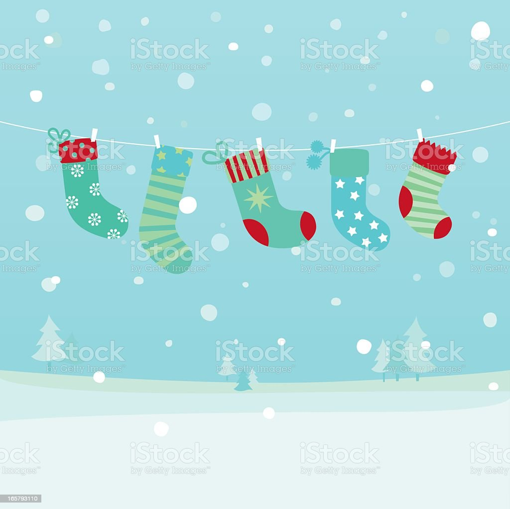 Drawing of Christmas stockings hanging by a laundry line vector art illustration
