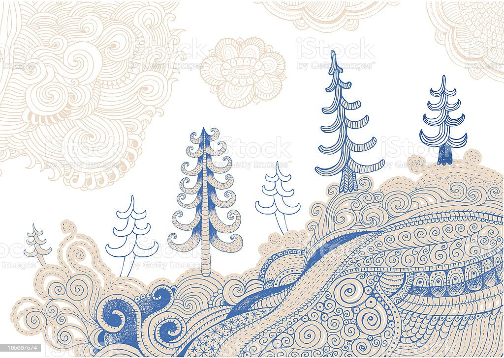 Drawing of christmas trees on background of abstract land and sky vector art illustration