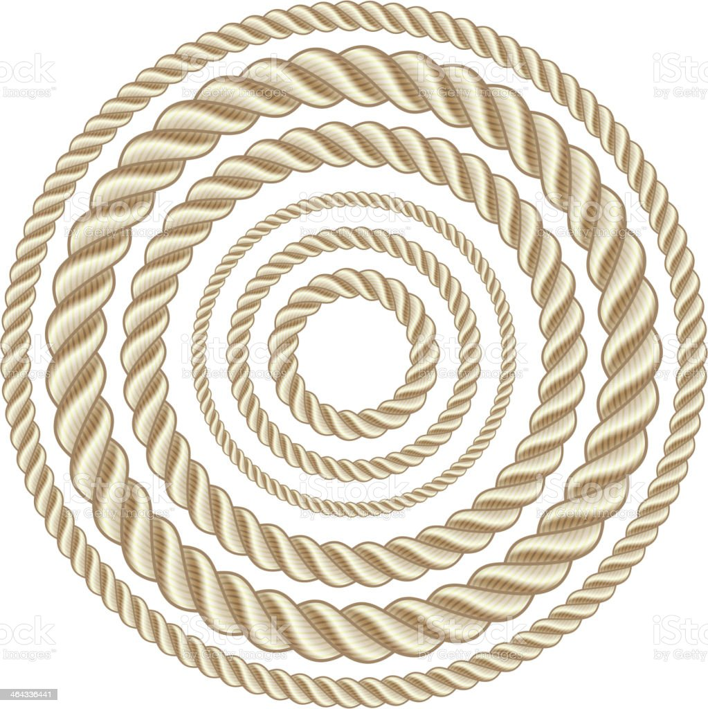 Drawing of circles of ropes in different sizes vector art illustration