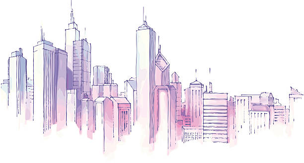 Drawing of city skyline on white background The hand-drown city skyline in a pastel shades.  chicago stock illustrations