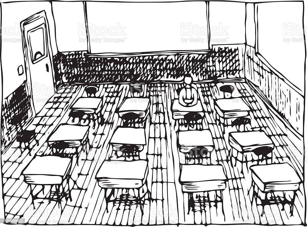 Drawing of classroom in black and white vector art illustration