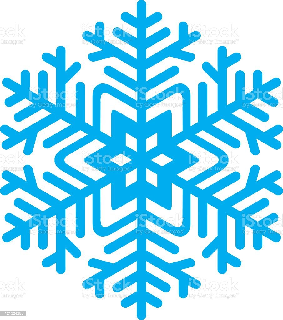 Drawing of close up blue snowflake in white background royalty-free stock vector art