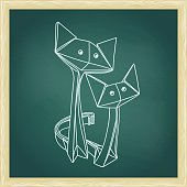 Drawing of cute origami cats in love.