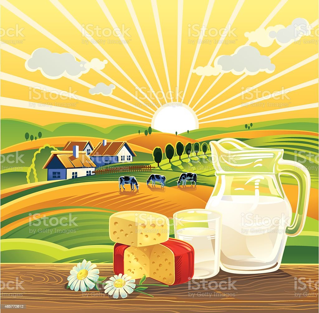 Drawing Of Dairy Products Against Farm Background Royalty Free