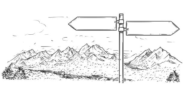drawing of empty blank traffic road sign on mountain background - black and white mountain stock illustrations, clip art, cartoons, & icons