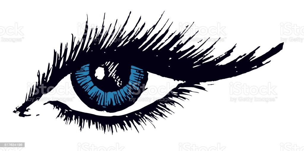 Drawing of female eye. vector art illustration