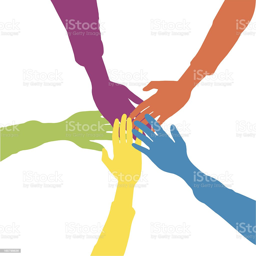 Drawing of five hands on top of one another signifying unity vector art illustration