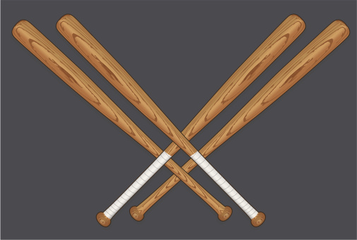 Drawing of four crossed baseball bats