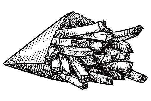 Drawing of french fries