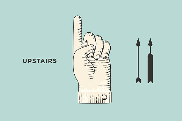 stockillustraties, clipart, cartoons en iconen met drawing of hand sign with thumbs up in engraving style - voting hands
