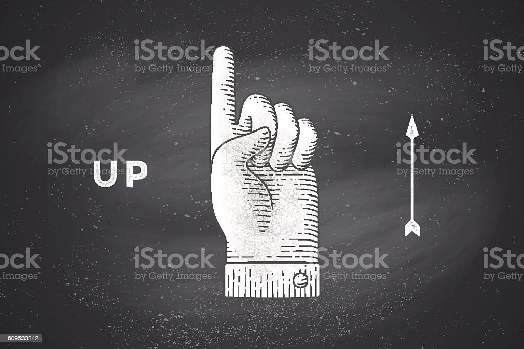 Drawing of hand sign with thumbs up in engraving style vector art illustration