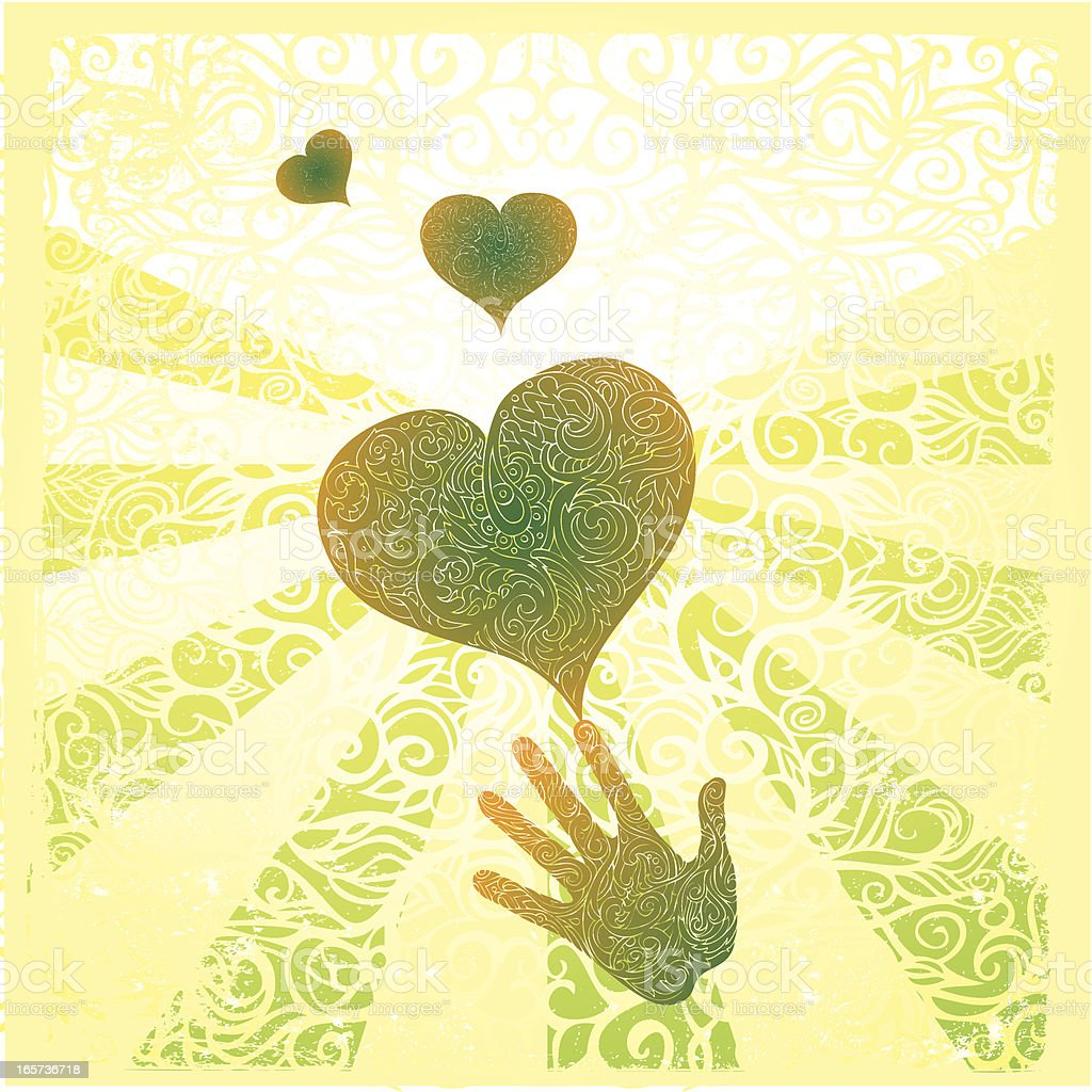 Drawing of hearts and a hand with swirled rays of sunlight  vector art illustration