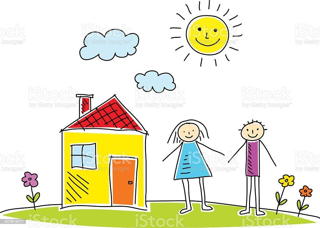Desenho de casa e crian as arte vetorial de acervo e for Disegno di una casa