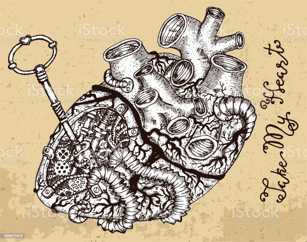 Drawing Of Human Heart With Key And Steampunk Mechanical Parts On