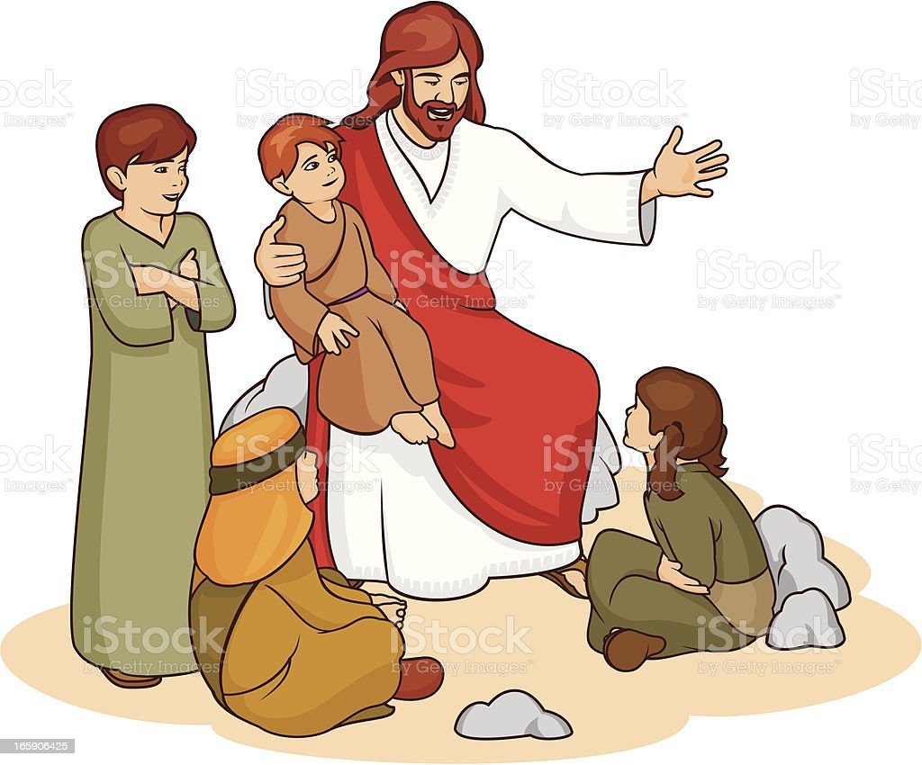 Drawing of Jesus and children telling them a story vector art illustration