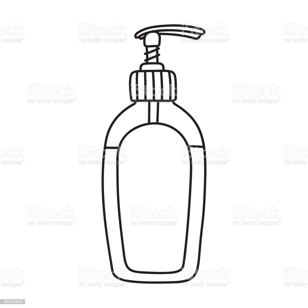 Picture of: Drawing Of Liquid Soap Shower Gel Dispenser Bottle Stock Illustration Download Image Now Istock