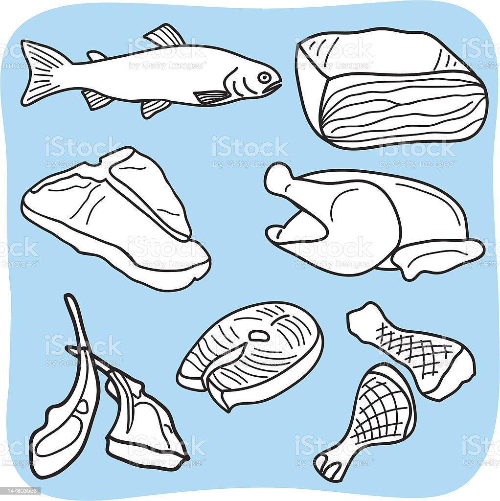 Ilustración De Dibujo De Carne Pescado Y Carnes De Aves Y Más
