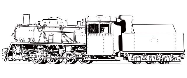 Drawing of narrow-gauge railway locomotive
