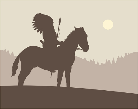 Drawing of native american chief on top of a horse