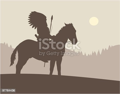 An atmospheric image of a native American on horseback.