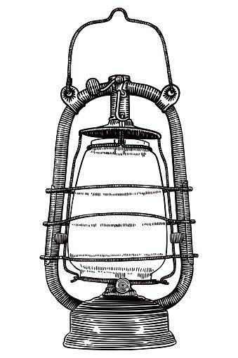 Drawing of old kerosene lamp