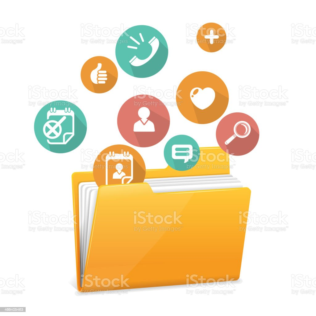 Drawing of open yellow file folder with colored icons above vector art illustration