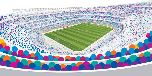 drawing of panoramic view of a white soccer stadium filled with colorful people on white background with wide angle view in large format - alejomiranda stock illustrations