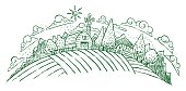 Drawing of pastoral farmland on a hump of land