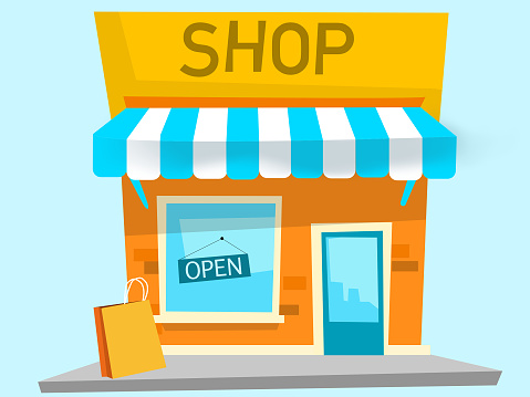 Drawing of physical store on a blue background