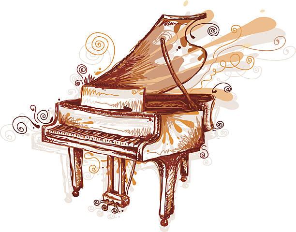 Drawing of piano in sepia tones vektorkonstillustration