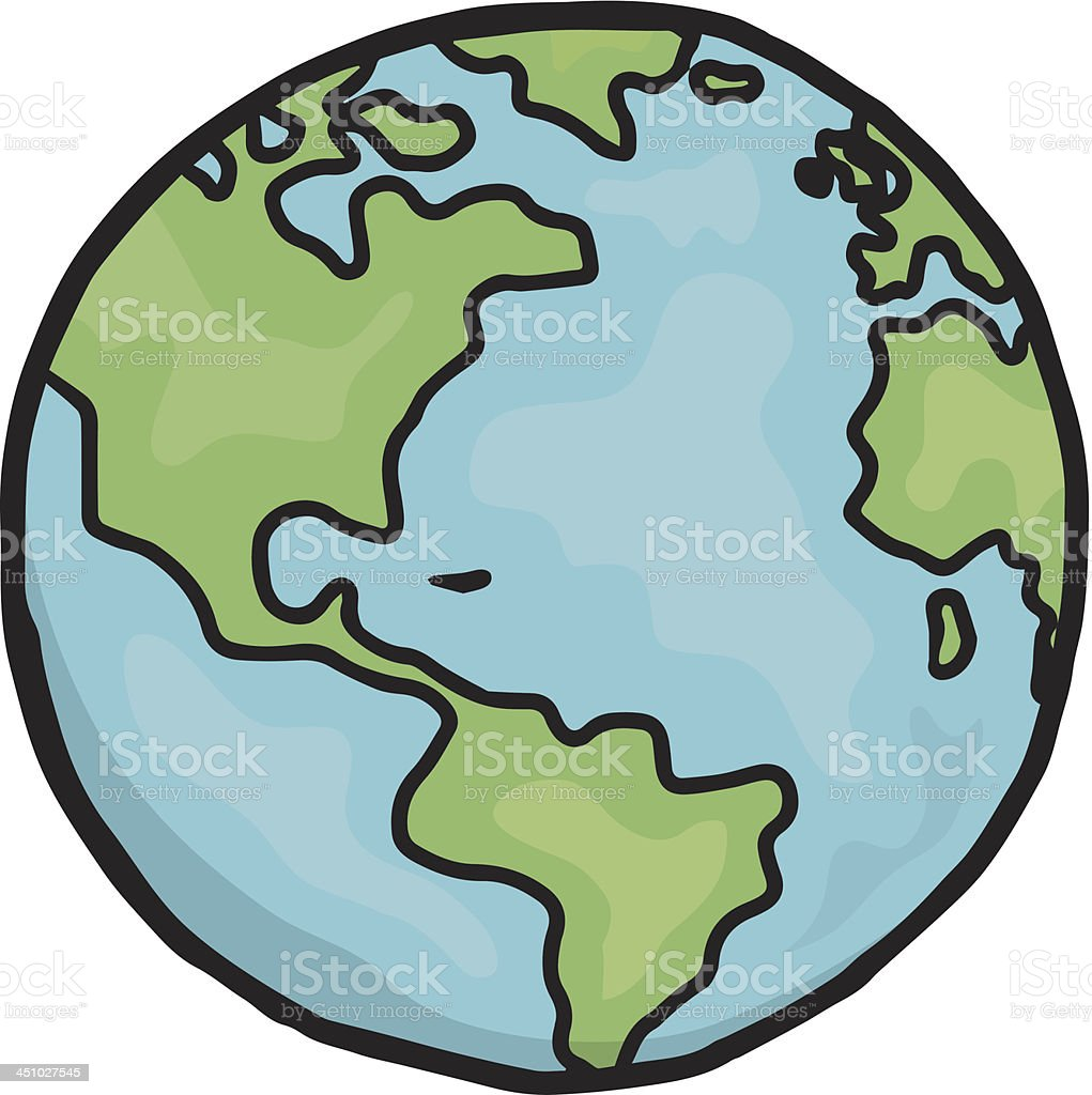 drawing of planet earth in cartoon form stock vector art more rh istockphoto com Earth Drawing Black N White Simple Earth Drawing