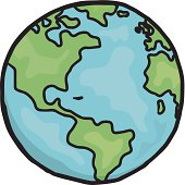 Drawing of planet earth in cartoon form