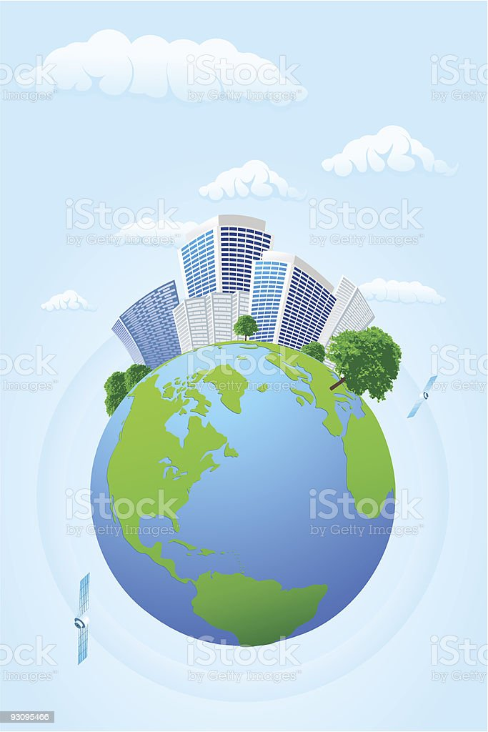 Drawing of planet earth with buildings and satellites royalty-free drawing of planet earth with buildings and satellites stock vector art & more images of billboard posting