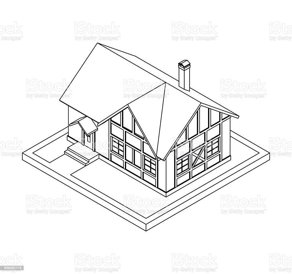 drawing of private house векторная иллюстрация
