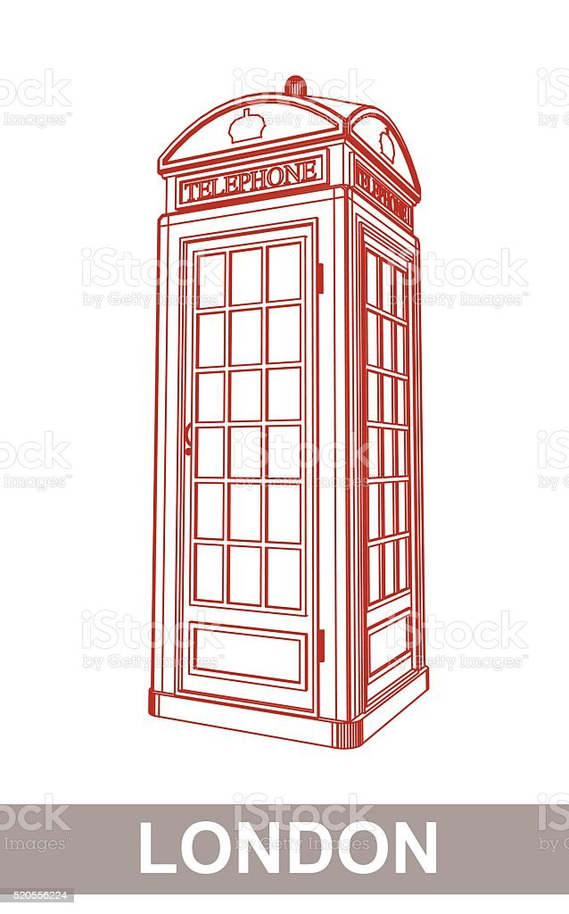 Drawing of Red Booth vector art illustration