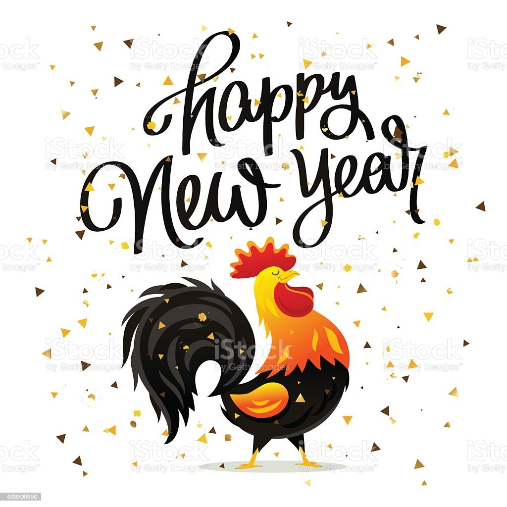 Drawing Of Rooster And Quote Happy New Year Stock Vektor Art und ...