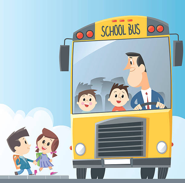 Drawing of school bus with children entering and bus driver vector art illustration