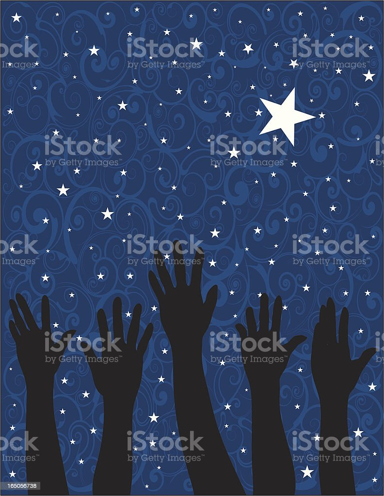 Drawing of silhouette hands reaching up to a star filled sky royalty-free stock vector art