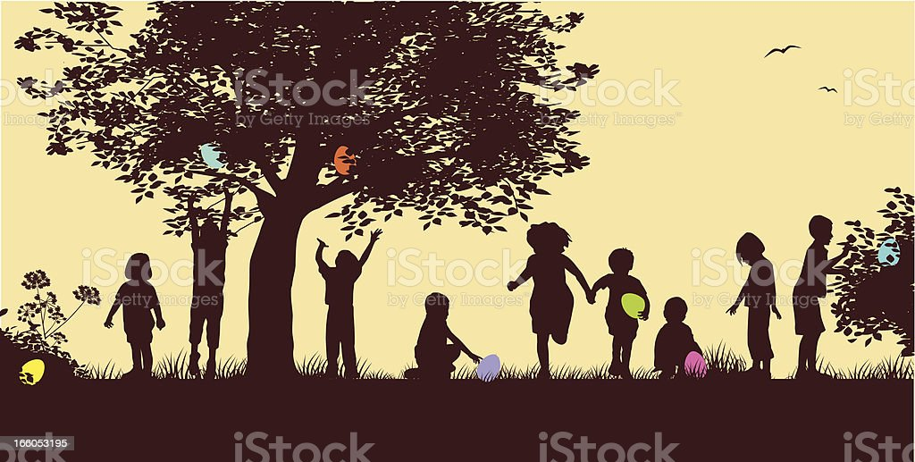 Drawing of silhouettes of children on an Easter egg hunt royalty-free stock vector art